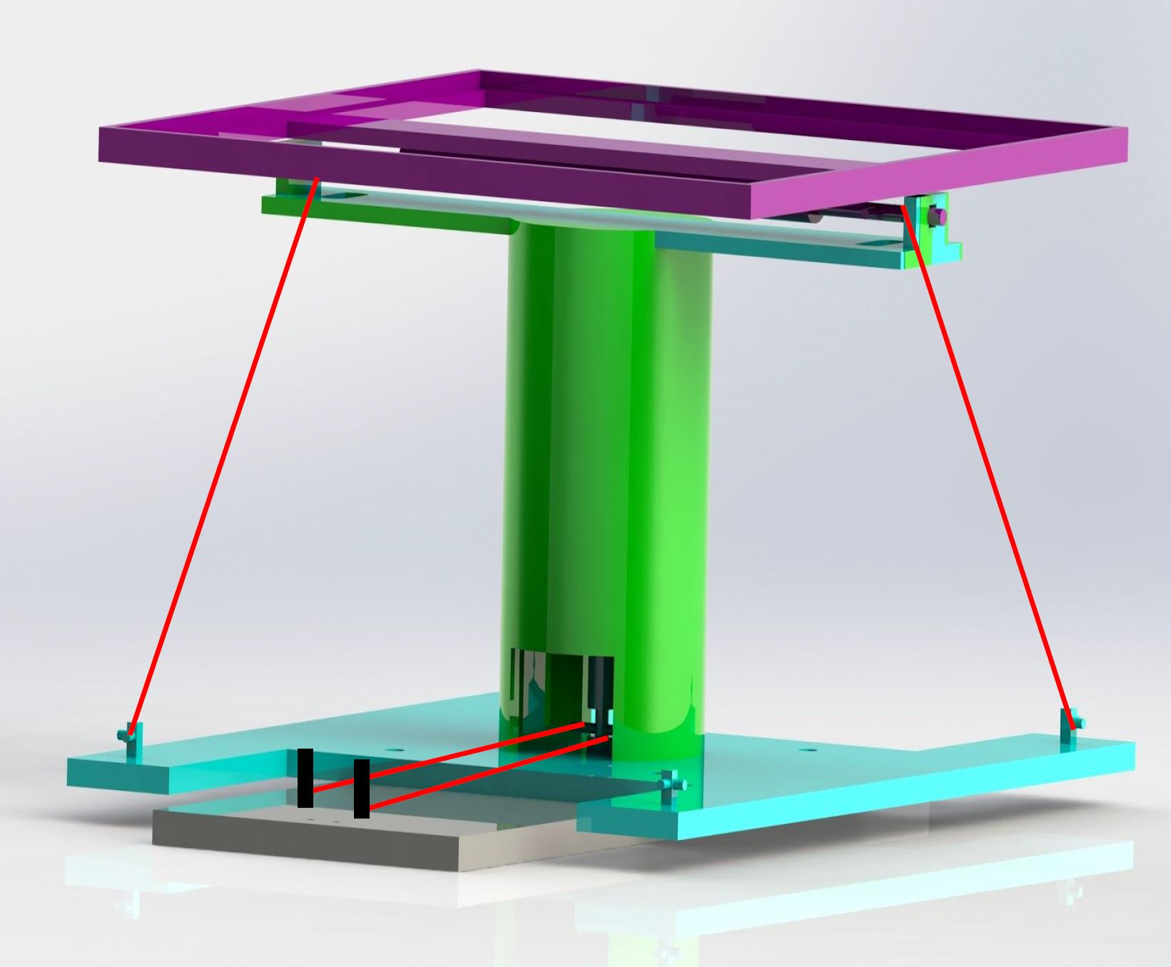 Tip-Tilt Mechanism CAD Render. The red lines represent the SMA wires.