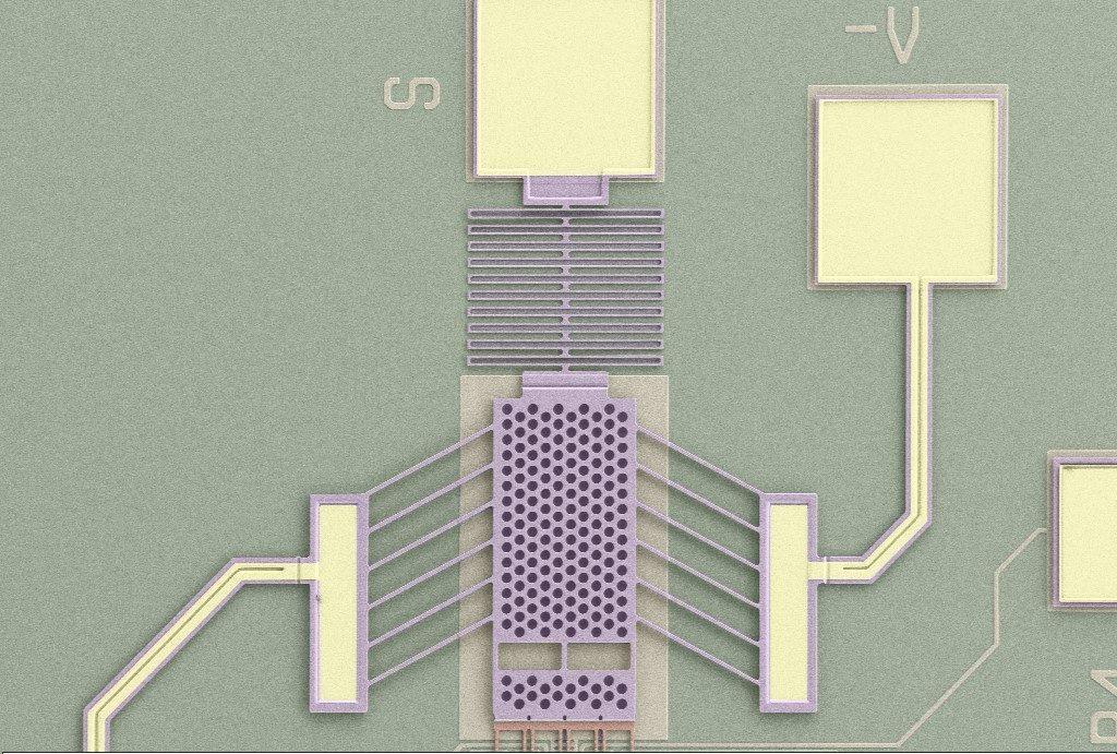 False Color SEM image of a Chevron Actuator